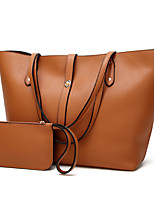 cheap -Women's PU Leather / Polyester Bag Set 2020 Solid Color 2 Pieces Purse Set Dark Brown / Wine / Black / Fall & Winter