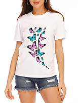 cheap -Women's T-shirt Graphic Print Round Neck Tops Loose Cotton Basic Summer White