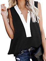 cheap -Women's Blouse Color Block Tops V Neck Daily Summer White Black Dusty Blue S M L XL 2XL