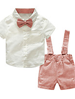 cheap -Toddler Boys' Basic Color Block Solid Colored Short Sleeve Clothing Set Blushing Pink