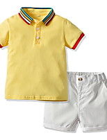 cheap -Kids Boys' Basic Color Block Short Sleeve Clothing Set Yellow
