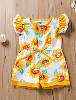 cheap -Kids Girls' Active Basic Daily Wear Festival Sun Flower Striped Floral Bow Lace up Sleeveless Regular Short Clothing Set Yellow
