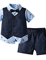 cheap -Kids Boys' Basic Color Block Short Sleeve Clothing Set Navy Blue