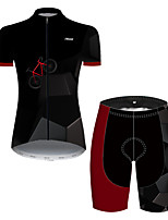cheap -21Grams Women's Short Sleeve Cycling Jersey with Shorts Nylon Polyester Black / Red 3D Patchwork Bike Clothing Suit Breathable 3D Pad Quick Dry Ultraviolet Resistant Reflective Strips Sports 3D