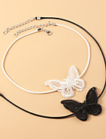 cheap -Women's Choker Necklace Necklace Classic Butterfly Dainty Elegant Trendy Sweet Cord Chrome White Black 40.5 cm Necklace Jewelry 1pc For Wedding Party Evening Street Beach Festival