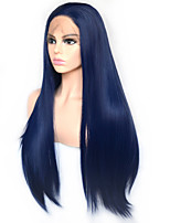 cheap -Vogue Queen Dark Blue Long Straight Synthetic Lace Front Wig Heat Resistant Fiber Daily Wearing For Women