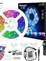 cheap -ZDM 7.5M Music Sync Colour Changing RGB LED Strip Lights 24-Key Remote Sensitive Built-in Mic Bluetooth App Controlled LED Lights 5050 RGB LED Light Strip Kit DC12V