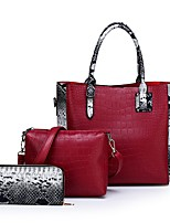 cheap -Women's Zipper PU Bag Set Bag Sets Solid Color Black / Red / Brown