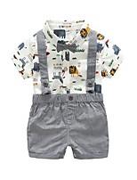 cheap -Kids Boys' Basic Print Short Sleeve Clothing Set Gray