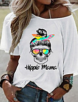cheap -Women's T-shirt Graphic Tops Round Neck Loose Daily Summer White Yellow Blushing Pink S M L XL 2XL