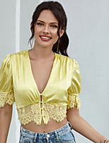 cheap -Women's Blouse Solid Colored Tops - Lace Trims Puff Sleeve V Neck Loose Beach Beach Summer Fall Yellow S M L