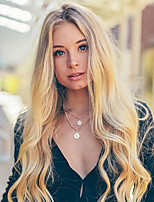 cheap -Synthetic Lace Front Wig Wavy Gaga Middle Part Lace Front Wig Long Ombre Blonde Synthetic Hair 22-26 inch Women's Heat Resistant Women Hot Sale Blonde Ombre / Glueless