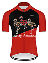 cheap -21Grams Men's Short Sleeve Cycling Jersey Nylon Polyester Black / Red Patchwork Flamingo Animal Bike Jersey Top Mountain Bike MTB Road Bike Cycling Breathable Quick Dry Ultraviolet Resistant Sports