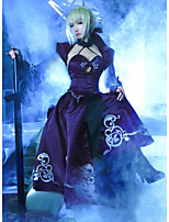 cheap -Inspired by Fate stay night Saber Anime Cosplay Costumes Japanese Outfits Top Dress Shawl For Women's / Bow / Sleeves / Necklace