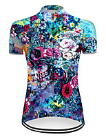 cheap -21Grams Women's Short Sleeve Cycling Jersey Nylon Polyester Blue Novelty Skull Floral Botanical Bike Jersey Top Mountain Bike MTB Road Bike Cycling Breathable Quick Dry Ultraviolet Resistant Sports