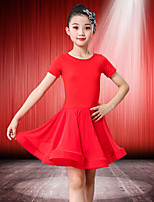 cheap -Latin Dance Dress Wave-like Girls' Training Performance Short Sleeve Natural Spandex
