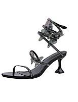 cheap -Women's Sandals Summer Stiletto Heel Open Toe Daily PU White / Black