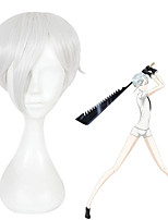 cheap -Cosplay Wig Antarcticite Land of the Lustrous Straight Cosplay Asymmetrical With Bangs Wig Short Silver grey Synthetic Hair 12 inch Women's Anime Cosplay Cool Silver