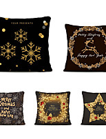 cheap -Set of 5 Linen Square Decorative Throw Pillow Cases  Cartoon Christmas Sofa Cushion Covers