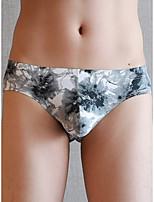 cheap -Men's Print Briefs Underwear - Normal Low Waist White Black Army Green M L XL