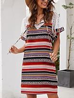 cheap -Women's Shift Dress Knee Length Dress - Short Sleeves Striped Summer Casual 2020 Red Yellow S M L XL
