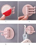 cheap -5 Pcs Seamless Adhesive Hook Rotatable Strong Bearing Stick Hook Kitchen Bathroom Wall Rack Towel Sundries Storage Rack Tools