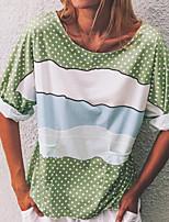 cheap -Women's T-shirt Polka Dot Round Neck Tops Blue Yellow Green
