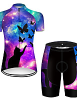 cheap -21Grams Women's Short Sleeve Cycling Jersey with Shorts Nylon Polyester Black / Blue Cat Butterfly Animal Bike Clothing Suit Breathable 3D Pad Quick Dry Ultraviolet Resistant Reflective Strips Sports