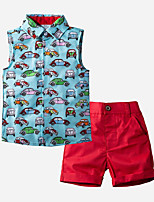 cheap -Kids Toddler Boys' Basic Print Sleeveless Clothing Set Blue