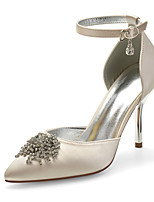 cheap -Women's Wedding Shoes Spring / Summer Stiletto Heel Pointed Toe Sexy Minimalism Wedding Party & Evening Rhinestone / Sparkling Glitter Solid Colored Satin White / Black / Purple