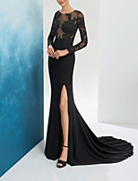 cheap -Mermaid / Trumpet Beautiful Back Floral Engagement Formal Evening Dress Illusion Neck Long Sleeve Sweep / Brush Train Chiffon Lace with Split Embroidery 2020