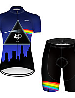 cheap -21Grams Women's Short Sleeve Cycling Jersey with Shorts Nylon Polyester Black / Blue 3D Rainbow Bike Clothing Suit Breathable 3D Pad Quick Dry Ultraviolet Resistant Reflective Strips Sports 3D