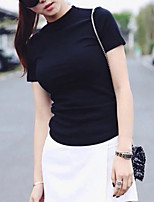 cheap -Women's T-shirt Solid Colored Round Neck Tops White Black Yellow