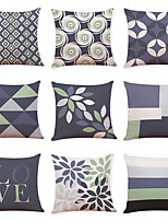 cheap -9 pcs Linen Pillow Cover, Geometic Contemporary Casual Modern Square Traditional Classic