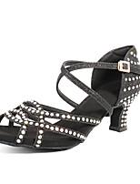 cheap -Women's Latin Shoes / Salsa Shoes Synthetics Buckle Heel Rhinestone / Buckle / Crystals Cuban Heel Customizable Dance Shoes Black / Gold / Silver