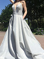 cheap -A-Line Glittering Luxurious Engagement Prom Dress V Neck Sleeveless Sweep / Brush Train Satin with Bow(s) 2020