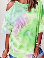 cheap -Women's T-shirt Tie Dye Round Neck Tops Loose Summer Blue Purple Yellow