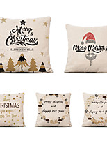 cheap -Set of 5 Linen Pillow Cover Special Design Cartoon Traditional Christmas Throw Pillow