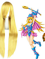 cheap -Cosplay Wig Dark Magician Girl Yuri on Ice Straight Cosplay Asymmetrical With Bangs Wig Very Long Blonde Synthetic Hair 40 inch Women's Anime Cosplay Classic Blonde