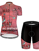 cheap -21Grams Women's Short Sleeve Cycling Jersey with Shorts Nylon Polyester Pink Patchwork Peace & Love Bike Clothing Suit Breathable 3D Pad Quick Dry Ultraviolet Resistant Reflective Strips Sports