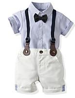 cheap -Kids Boys' Basic Striped Short Sleeve Clothing Set Light Blue