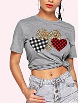 cheap -Women's T-shirt Leopard Round Neck Tops Summer Gray