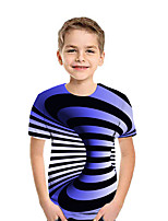cheap -Kids Boys' Active Street chic Geometric 3D Patchwork Print Short Sleeve Tee Black