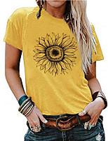 cheap -Women's T-shirt Floral Round Neck Tops Cotton Summer Yellow
