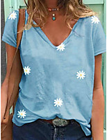 cheap -Women's T-shirt Floral Round Neck Tops Blue Khaki Green / Going out