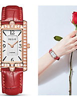 cheap -MEGIR Women's Quartz Watches Quartz Stylish Fashion Water Resistant / Waterproof Crystal Genuine Leather Black / White / Red Analog - White Black Red One Year Battery Life / Swiss / Swiss