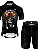 cheap -21Grams Men's Short Sleeve Cycling Jersey with Shorts Nylon Polyester Black 3D Novelty Skull Bike Clothing Suit Breathable 3D Pad Quick Dry Ultraviolet Resistant Reflective Strips Sports 3D Mountain