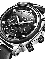 cheap -LIGE Men's Sport Watch Quartz Modern Style Stylish Leather Black Water Resistant / Waterproof Noctilucent Analog Casual Outdoor - Black / Silver Black+Gloden Black / Stainless Steel