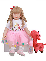 cheap -FeelWind 24 inch Reborn Doll Baby & Toddler Toy Reborn Toddler Doll Baby Girl Gift Cute Lovely Parent-Child Interaction Tipped and Sealed Nails 3/4 Silicone Limbs and Cotton Filled Body LV097 with
