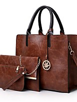 cheap -Women's Zipper PU Bag Set Bag Sets Solid Color Wine / Black / Blushing Pink